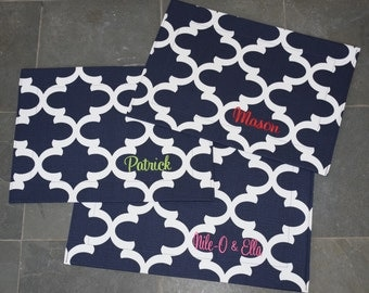 Navy Pet Placemat || Stylish Quatrefoil Bowl Mat || Custom Puppy Gift || Embroidered Waterproof Dog Feeding Station by Three Spoiled Dogs