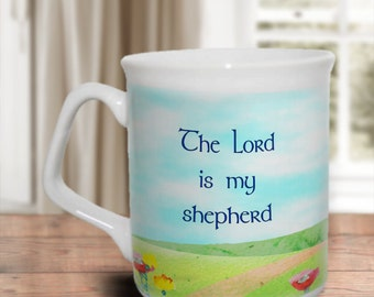 Christian mug. The Lord is my shepherd. Encouraging scripture. Bible verse. Share faith. Inspire. Encourage. Comfort.