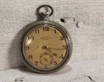 Antique Swiss TEGRA CHRONOMETRE Pocket Watch 15 Jewels, Great Runner Silver Plated 1910's Pocket Watch, Working Swiss Watch