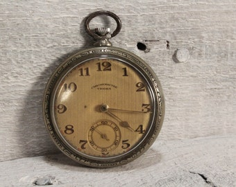 Antique Swiss TEGRA CHRONOMETRE Pocket Watch 15 Jewels, Great Runner Silver Plated 1910's Pocket Watch, Working Swiss Watch
