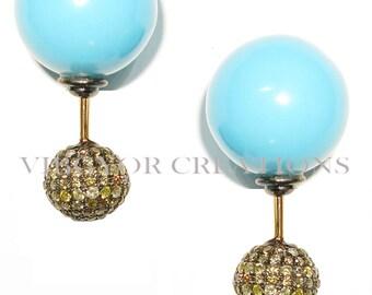 14k Gold Earring Diamond Earring Gold Diamond Jewelry Dangle Drop Earrings Diamond DropTurquoise Earring Turquoise Earrings Wedding Jewelry
