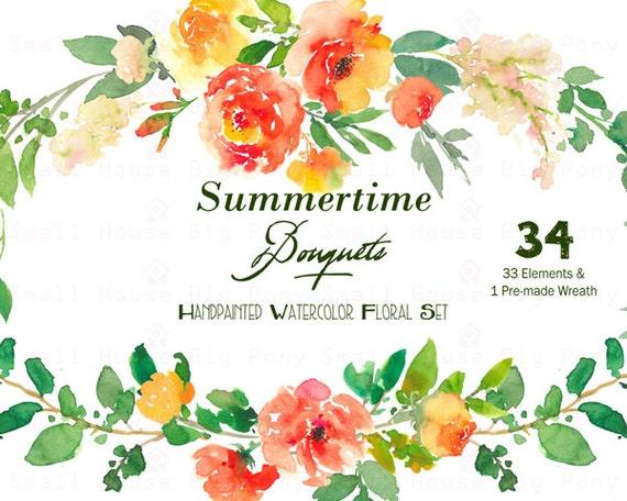 Digital Clipart- Watercolor Flower Clipart, peonies Clip art, Floral Bouquet Clipart, wedding flowers clip art- Summertime Bouquet Elements