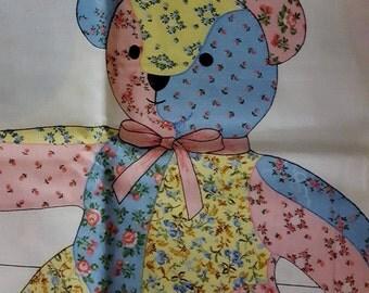Patchwork Teddy Bear Fabric Panel