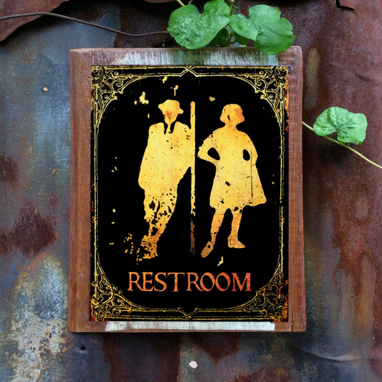 Restroom Sign Wood Sign Door Sign Funny Sign Decor