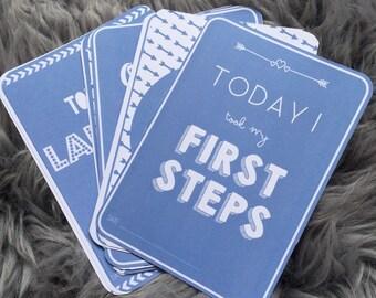 Baby Milestone Cards - Blue Milestone Cards - Boy Milestone Cards - Baby Shower Gift - New Baby Gift - Monthly Photo Props - Pregnancy Gift