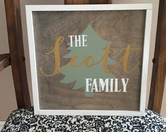 Personalized Christmas Tree Family Sign Rustic Chic