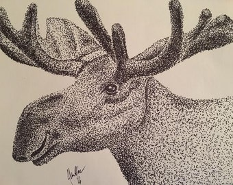 Stipple Moose with FREE frame