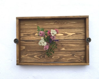 Rustic Wooden Serving Tray -Wood Ottoman and Coffee Table Tray-Decorative Tray-Farmhouse Decor-Centerpiece Tray