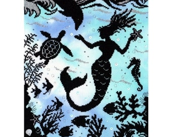 Bothy Threads Fairy Tales Enchanted Mermaid Cove Counted Cross Stitch Kit - 26x36cm