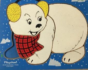 Vintage wooden of little polar bear with ear muffs  puzzle by Playskool craft nursery art children