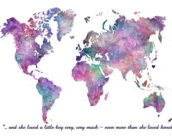 Large World Map Art Print World Map Wall Art