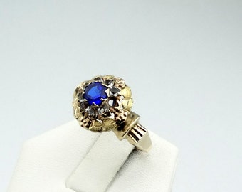 Vintage 1920's Yellow Rose and Green 10K Gold Rhinestone and Blue Glass Gem Ring  #1920YRG-GR4