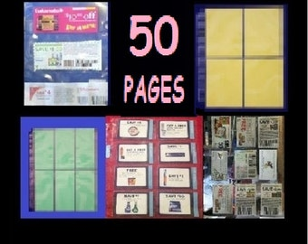 50 ~  Coupon Binder Sleeves, Organizing, Inserts, Scrapbooking, Baseball Cards - Variety Set - Choose Your Own Pagest!