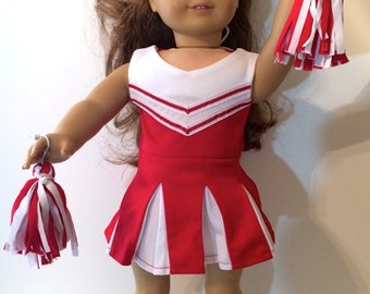Cheerleading Outfit For 18 Inch Doll Clothes Red and White With Pom Poms