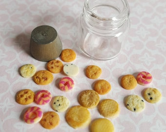 Dollhouse cookies, dolls house scale jar of biscuits, miniature food in one inch scale
