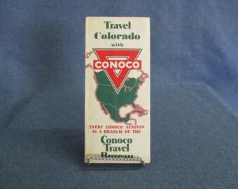 Conoco Travel Colorado Road Map 1950's