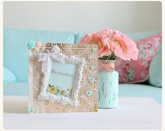 Card congratulations newlyweds flowers and framework
