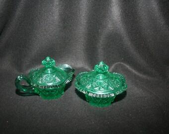 Beautiful Cut-Glass Green Creamer and Sugar Bowl