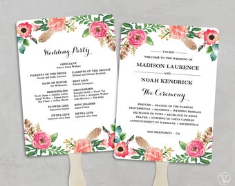 Printable Wedding Program Fan Template, Fan Wedding Programs, Wedding Fans, DIY Wedding Programs, Editable text, 5x7, Peony Flower, VW14