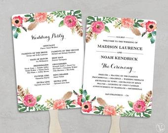 Printable Wedding Program Fan Template, Fan Wedding Programs, Wedding Fans, DIY Wedding Programs, Editable text, 5x7, Peony Flowers