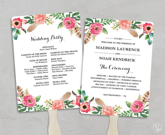 Printable Wedding Program Fan Template Programs Fans DIY Editable Text 5x7 Peony Flower VW14