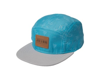 Baby Blue hipster 5-Panel Polyester Snapback Hat for baby, toddler, and children by Jack and Winn, baby baseball hat, trucker hat, stylish