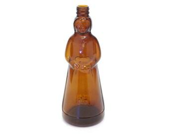 "Mrs. Butterworth Amber Glass Bottle Vintage Americana Maple Syrup 10"""