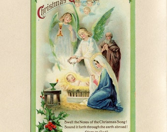 Vintage Christmas Postcard Angels in Manger with Baby Jesus on Straw Bed Nativity Scene With Verse Samuel Gabriel Company Used ~ 6939Pb