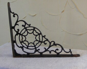 Large Vintage Spider Web Cast Iron Shelf Bracket Single Rescued Architectural Salvage for 9 Inch Shelf Circles and Scrolls ~ 7171b