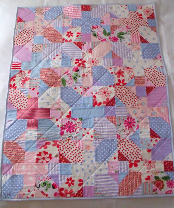"patchwork quilt, quilted throw, cot quilt, small duvet, quilted blanket, baby play mat, 36"" x 48"""