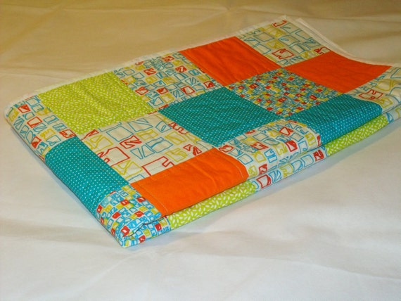 """patchwork quilt, cot quilt, sofa throw, single quilted throw, summer duvet, quilted blanket, 48"""" x 53"""""""