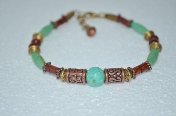 Ankle Bracelet Turquoise & Wood Beads, Turquoise Copper and Bronze Anklet, Wood Bead Anklet, Hippie Beaded Anklet, Wood Bead and Turquoise