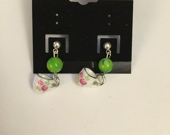 Green Teacup Earrings