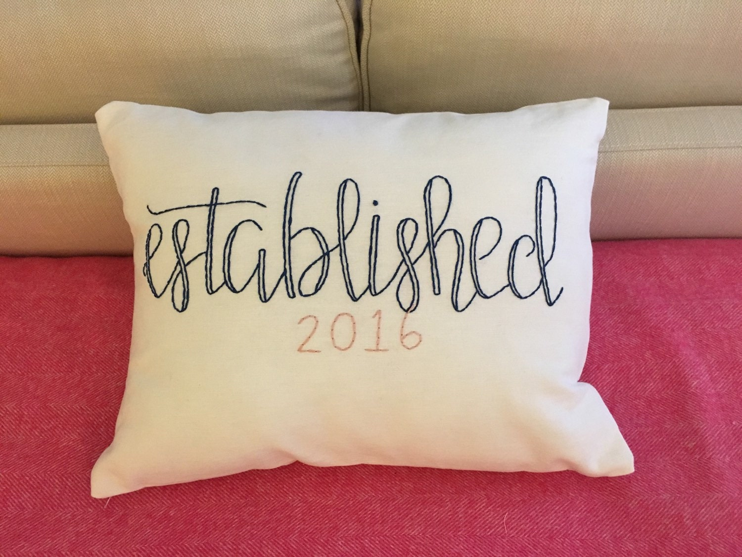 Established Pillow Cover Embroidered Wedding Pillow