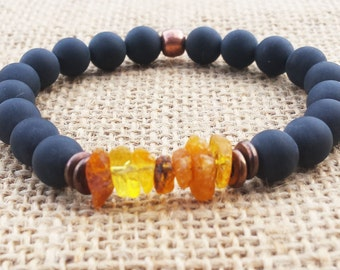 Raw Baltic Amber Bracelet Matte Black Onyx Copper Bracelet Stretch Amber Bracelet Father's Day Gifts Men's Bracelet Men's Amber Bracelet