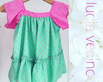 Dress green and raspberry
