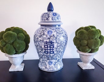 Old Dynasty Blue and White Oriental Centerpiece Ginger Jar!