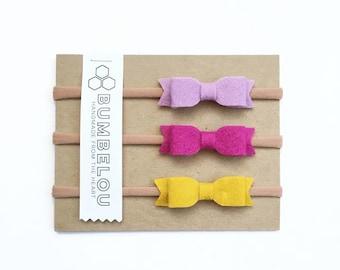 3 mini bow headbands - One Size Fits All Nylon - Lilac, Fuschia, Mustard