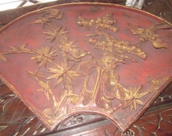 Chinese Carved Wooden Panel with Red, Black Lacquer & Gold Gilt Early 20th c. Bat Feng Shui