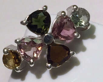 Natural 2.5ct Rubellite Tourmaline 925 Solid Sterling Silver Ring sz 7.25