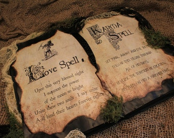 """Halloween Spell Book, """"Love Spell & Karma Spell"""", Halloween Decor, Halloween Prop, Halloween Display, Love Spell, Karma Spell, Grunge, Karma"""