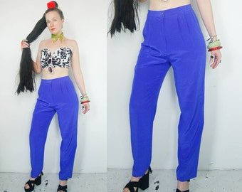purple SILK PANTS with side pockets lightweight 80s 90s  L XL