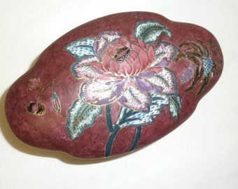 Vintage Porcelain Covered Box Cloisonne Style Enameled Floral Trinket Jewelry Candy Burgundy Mauve Floral Gold Leaf Gifts for Her