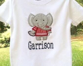 Elephant w/ Football Applique Shirt--University of Alabama