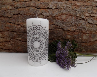 SALE**Large hand printed candle.Personalized candle.Mandala candle.White candle.Home decor.Eastern Sapphire.bespoke.pretty candles.