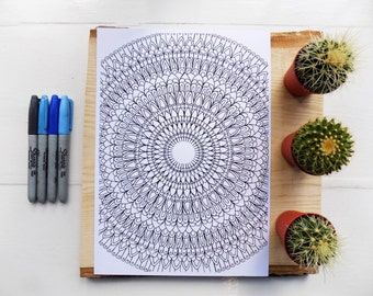 12 PAGE DOWNLOADABLE .mandala. style.colouring pack for adults or older children. Coloring pages.mandala colouring page.eastern sapphire.