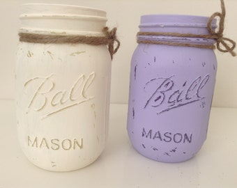 Hand Painted Mason. Rustic Home Decor. Centerpiece. Baby Shower. Wedding Decor. Mason Jar Centerpiece. Mason Jar Wedding Favor.Gift