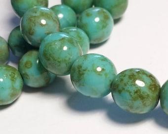 10pcs Green Turquoise Picasso Beads - Czech Glass Beads - Bohemian Beads - 8mm - BB74