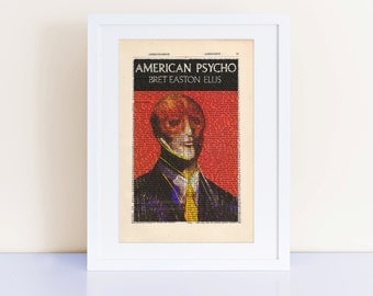 American Psycho by Bret Easton Ellis Print on an antique page, book cover art