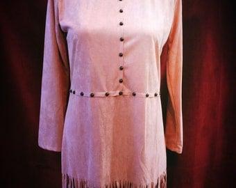 Vintage Mauve Ultra Suede Long Sleeve Fringe Studded Dress